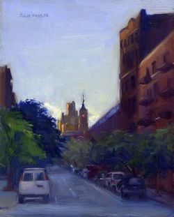 Evening at 91st & Third, Oil on Board, 8x10 in